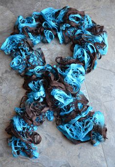 blue and brown sashay ruffle crochet scarf