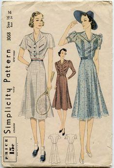 1930s Dress Pattern Simplicity 3068 Active Wear Day Dress Flared Skirt Bust 34
