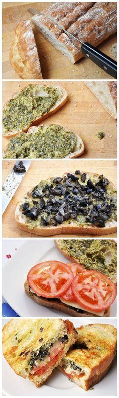 Vegan Panini- Pesto, Olives & tomato sub lettuce, pickled red onion. Bake nutritional yeast on ciabatta.