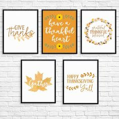 Printable thanksgiving wall art set: Give thanks Gather Have a Thankful Heart Grateful, Thankful, Blessed Happy Thanksgiving Y'all