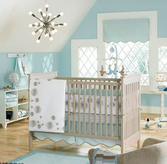 Ocean Themed Baby Nursery. I really love this. It's not gender specific and it doesn't have any ridiculous sea creatures that look too baby like.