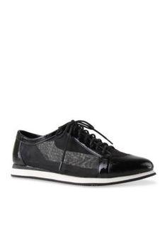 J Rene233 Black Lace Up Fashion Sneaker
