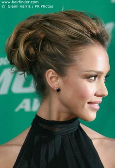 Updo is in so good hight. Creates nice line from chin to crown. gorgeous high crown messy updo. For prom