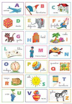 Home :: Vintage Art :: Vintage Art Paper/Posters :: Italian Alphabet Illustration Poster Italian Grammar, Italian Vocabulary, Italian Language, Italian Alphabet, How To Speak Italian, Alphabet For Kids, Learning Italian, Dado, Lessons For Kids