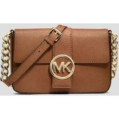 MICHAEL Michael Kors Crossbody - Fulton Small Messenger ($141) ❤ liked on Polyvore featuring bags, messenger bags, purses, accessories, michael michael kors crossbody, messenger crossbody, logo messenger bag, michael michael kors bags and brown messenger bag