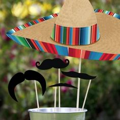 What's Cinco De Mayo without some festive Mustaches? :: Creative Party Ideas by Cheryl: Cinco De Mayo Photo Booth Props Bar Mexicano, Mexican Fiesta Party, Creative Party Ideas, Ideas Party, Mexican Birthday, Taco Party, Photo Booth Props, Photo Booths, Thinking Day