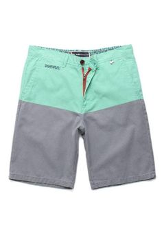 f27d38765bb4 Modern Amusement Parker Blockhead Color Block Green Gray Mens Shorts New NWT