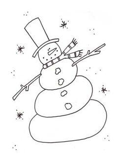 primitive snowman clipart black and white - Google Search ...