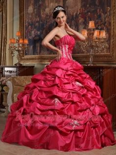 Coral Red Ball Gown Strapless Floor-length Appliques Taffeta Quinceanera Dress