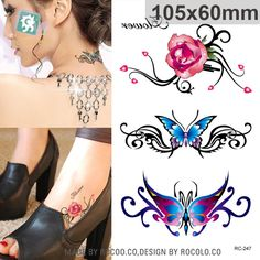 RC-247 Waterproof Flash Tattoo Sticker Color Butterfly Rose Temporary Tattoo Stickers Body Art Fake Tattoo Foil Decal Wholesale #Affiliate