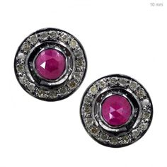 925 Sterling Silver Diamond Ruby Stud Earrings 14K Gold Fashion Gemstone Jewelry #Handmade #Stud