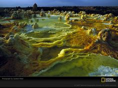 Sulfur, salt, and other minerals color the crater of Ethiopia's Dallol volcano.