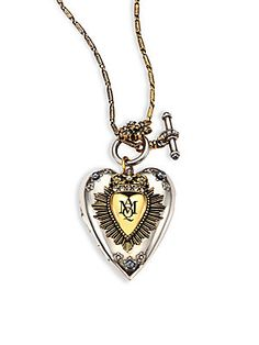 Alexander McQueen Heart Locket Necklace - Silver-Gold