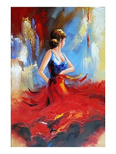 Wieco Art Flying Skirt Abstract Dancing People Oil Paintings on Canvas Wall Art work for Living Room Bedroom Home Decorations Wall Decor Large Modern Stretched and Framed Red Girl Dancer Artwork Easy Canvas Painting, Oil Painting Abstract, Canvas Wall Art, Cute Easy Paintings, Painting Trees, Hand Painted Canvas, Framed Canvas, Diy Canvas, Painting Art