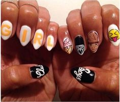 Pharrell's Hat was BORN to be painted on this nail shape | Community Post: 21 Times Music Fans Won The Nail Art Game by Camille Ford