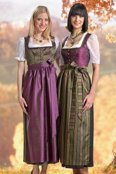 Dirndl von Trachtenmode Hiebaum, grün-lila, lang, modern, festlich.