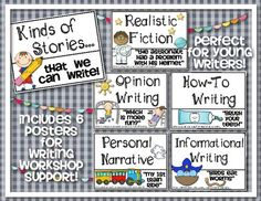 Writing Workshop Poster Set {Kinds of Stories We Write!} Includes 6 posters (How To, Opinion Writing, Personal Narrative, Informational Writing, Realistic Fiction) Great visual for mini lessons for young writers - and to hang in the classroom. $
