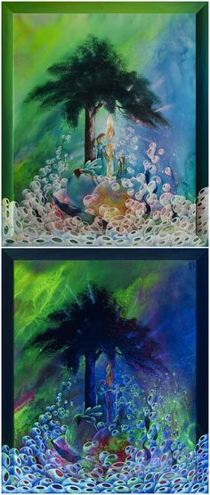 Luminescent painting THE WONDER MAKER'S TALE • 2012, canvas   acrylic, daylight and UV light • Painting Ideas   Fluorescent Art   Fluorescent Paintings   Home Decor   Art   Art Ideas   Contemporary Art   Abstract Art   Fine Art • Available on Etsy •