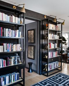 """Kemble-interiors-inc Apartment friendly """"built-ins"""". shelves and lighting are free standing and plug-in"""