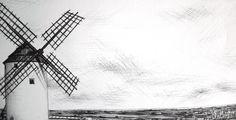 Landscape I Mota del Cuervo y sus molinos I (bic pen) artista: marinaggalietero