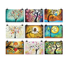 Whimsical Folk Art Prints ACEO - ATC Artist Trading Cards - Tree of Life Art Earth Tone - Set of 9 Signed.