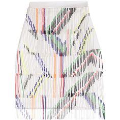 Preen Skirt ($810) ❤ liked on Polyvore featuring skirts, bottoms, white, beaded skirt, multi color skirt, white knee length skirt, multicolor skirt and white fringe skirt