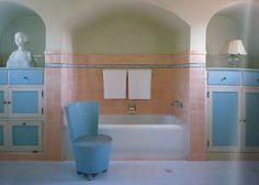 Elsie de Wolfe design for Beverly Hills home of Countess Dorothy di Frasso, photo by Simon Watson for House & Garden Elsie De Wolfe, Art Deco Bathroom, Pastel Bathroom, True Homes, Palette, Bathroom Pictures, Bathroom Ideas, Bathroom Inspiration, Vintage Interiors