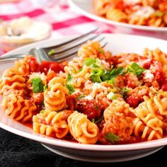 Italian Sausage and Radiatore Pasta One-Skillet Meal - made with a quick and easy homemade sauce.