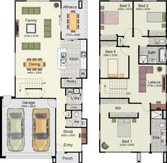 Hotondo Homes Hotham 247 is such an awesome home design Floor Design, House Design, Garage Design, Hotondo Homes, Narrow House, Floor Layout, House Blueprints, New Home Designs, Architecture Plan