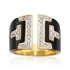 C. 1990 Vintage .65 ct. t.w. Diamond and Black Onyx Section Ring in 18kt Yellow Gold. Size 7 | #844289 @ ross-simons.com