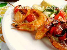 Cinco sentidos na cozinha: Espetadas de salmão, camarão e tomate- cereja