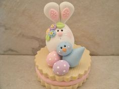 Bunny and Bluebird on Easter Cookie by countrycupboardclay: