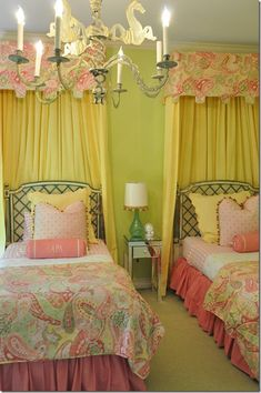 This is perfect for the girls' room! Love the cornices and fabric to hide the weird unnecessary window!