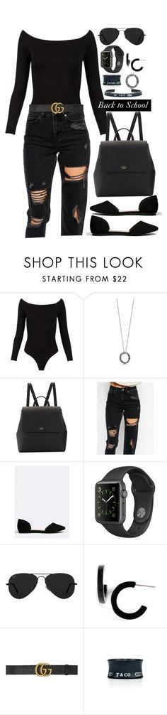 """""""Back in black"""" by brookemuir ❤ liked on Polyvore featuring Tiffany & Co., Kate Spade, ASOS, Breckelle's, Ray-Ban, L. Erickson and Gucci"""