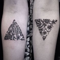 by Luci Tattoos triangle flowers More
