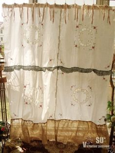 pink cross stitch crochet shabby cottage rustic chic burlap shower curtain ebay