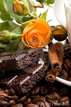 Chocolate, coffee, cinnamon and flower by Mariia Gerasimenko, via Dreamstime