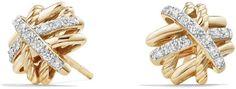 David Yurman Crossover Earrings with Diamonds in Gold Jewelry & Accessories - Bloomingdale's Bridal Accessories, Jewelry Accessories, 4 Cs Of Diamonds, 18k Gold Jewelry, David Yurman, Gold Rings, Rose Gold, Stud Earrings, Gemstones