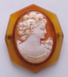 Art Deco Amber Bakelite Genuine Shell Cameo Brooch