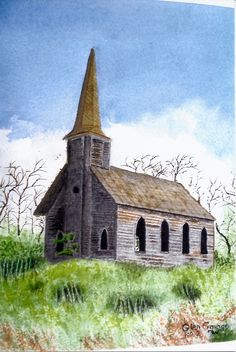 I took a picture of this old church in Wasco, OR and my brother painted this picture from my photo.
