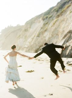 Jump for joy: http://www.stylemepretty.com/2015/02/10/inspired-by-johnny-depps-beachfront-nuptials/