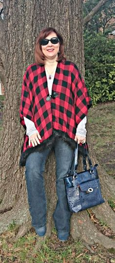 Over 40 Fashion,  Poncho, Plaid, Flared Jeans, Winter Outfit