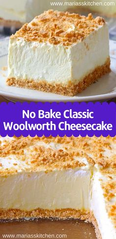 No Bake Woolworth Cheesecake is a classic, light and lemony dessert and will be the perfect addition to your Easter or Mother's Day menu! Woolworth Cheesecake Recipe, No Bake Cheesecake Filling, Banana Cheesecake, Baked Cheesecake Recipe, Basic Cheesecake, Easy No Bake Desserts, Köstliche Desserts, Best Dessert Recipes, Cheesecake Desserts