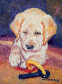 Bailey Yellow Labrador Retriever Puppy Original Oil Dog Painting Pet Portrait by KimStenbergFineArt, $100.00