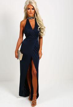 Lanchana Navy Jewel Choker Neck Maxi Dress