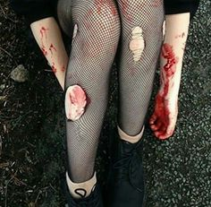 has no signs of cutting, and I hope it's fake blood.