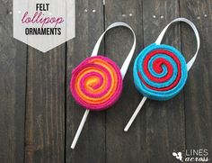 Felt Lollipop Ornaments - Have a sweet holiday with these simple no-sew Christmas ornaments.