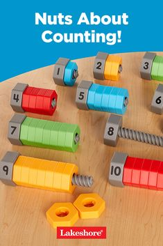Introduce math with hands-on nuts and bolts! Learn more about our Nuts About Counting! Hands On Learning Kindergarten, Learning Numbers Preschool, Numbers Kindergarten, Preschool Lessons, Preschool Crafts, Science Crafts, Train Activities, Activities For Boys, Science For Kids