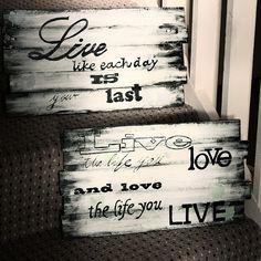 home znaczy DOM: drewniane tabliczki z napisami - DIY
