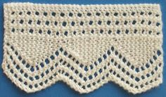 """diy_crafts- Seed Point Lace Knitted Knitted Lace Sample Book: February 2009 - More Lace Edging"""", Seed Point is the widest edging w Knitting Stiches, Lace Knitting, Baby Knitting Patterns, Knitting Designs, Knitting Projects, Crochet Quilt, Knit Or Crochet, Russian Crochet, Doilies Crochet"""